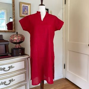 Vintage Red Cotton Indian Tunic M